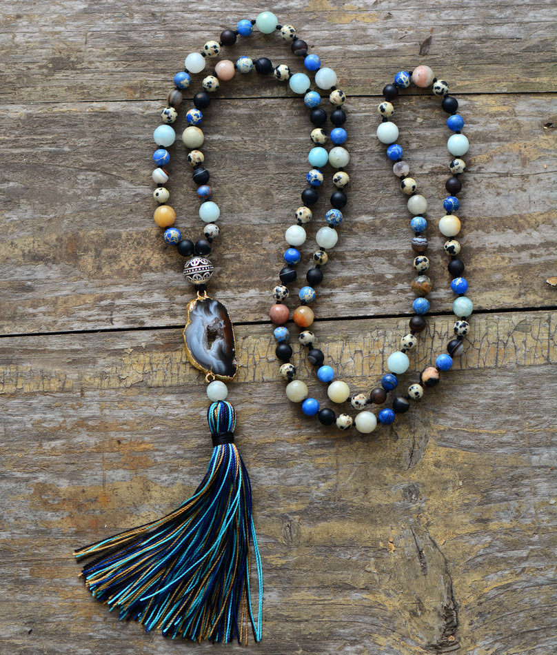 Beaded Tassel Necklace  Gemstone Tassel Necklace  Long Necklace  Long Tassel Necklace   Jasper Bead Necklace  Necklaces For Woman