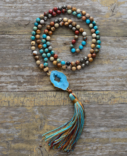 Boho Mala Beaded Pyrite & Turquoise  Geode Tassel Necklace