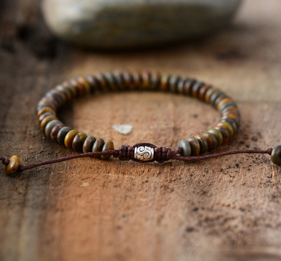 Men's Beaded Brown Jasper Discs Stacking Bracelet