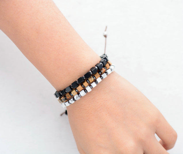 Square Men's Beaded Hematite Silver Stacking Friendship Bracelet - Egret Jewellery