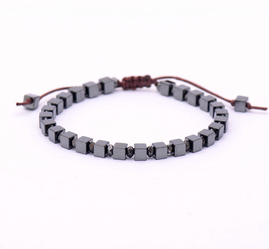 Square Men's Beaded Hematite Silver Stacking Friendship Bracelet