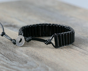 Natural Oblong Onyx Beaded Leather Cuff Bracelet Men's - Egret Jewellery