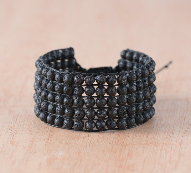 Natural Black Lava Rock Beaded Wrap | Cuff Bracelet  Men's