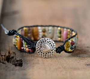 Leather Natural Dalmatian Jasper Oblong Beaded Cuff | Wrap Bracelet - Egret Jewellery