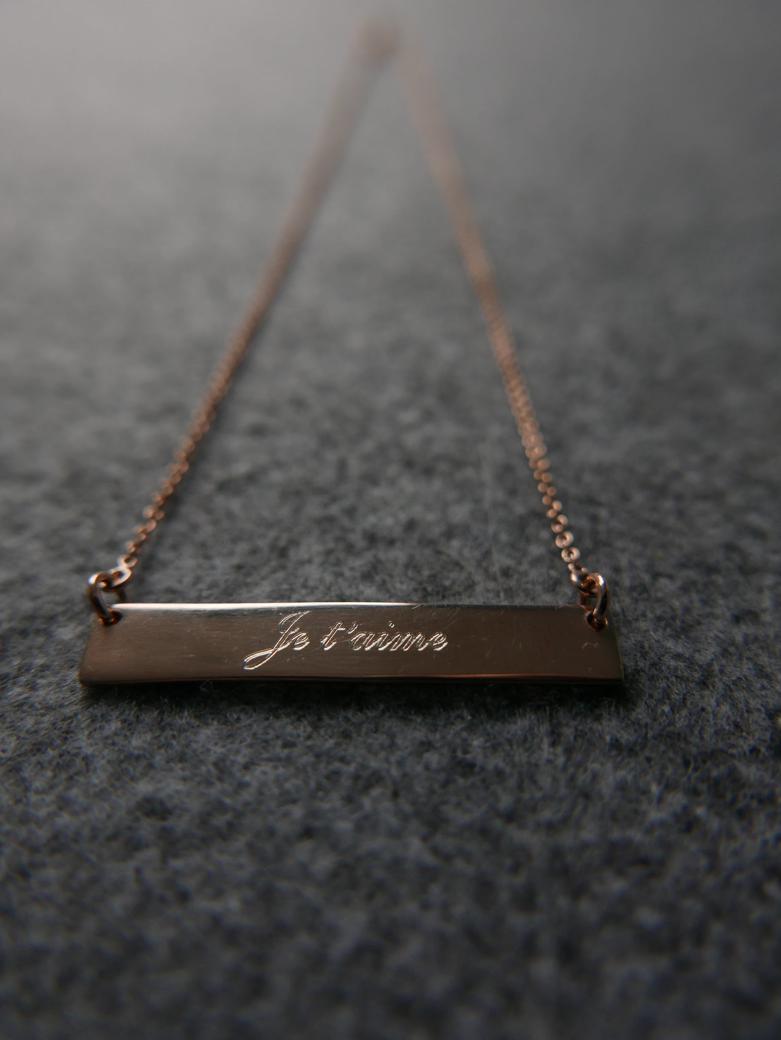 Je t'aime Rose Gold Dipped Sterling Silver French Name Bar Necklace - Egret Jewellery