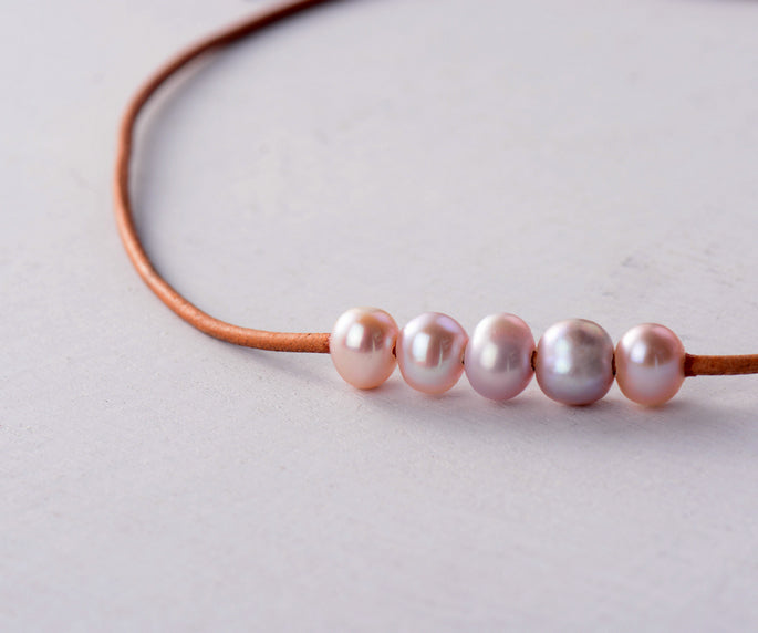Genuine Freshwater Pink Pearl Choker Beaded Necklace Leather - Egret Jewellery