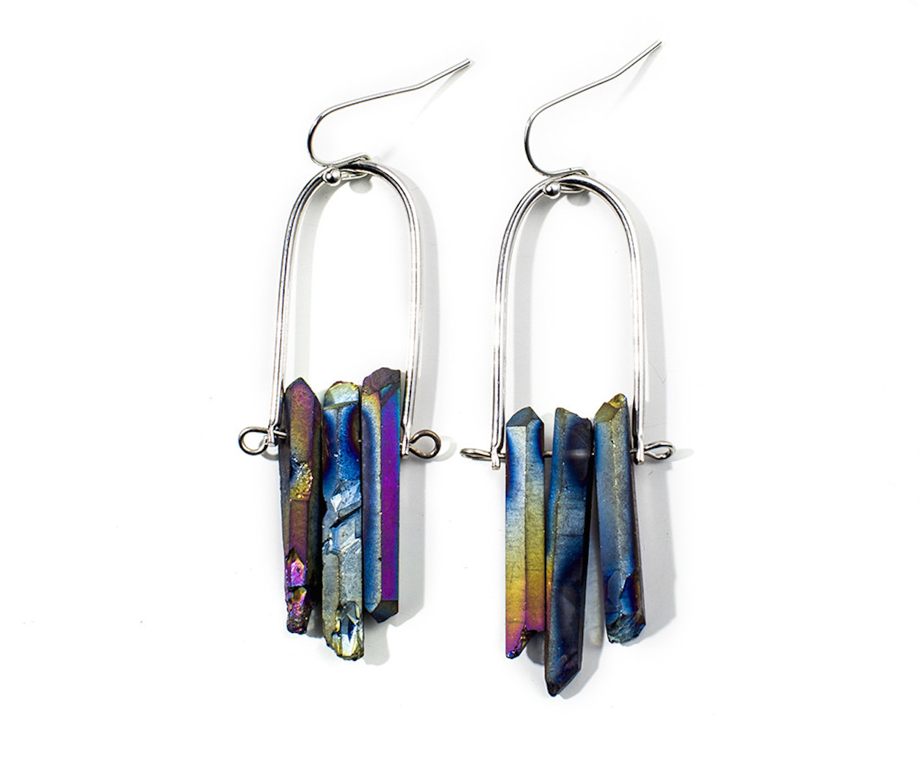 Raw Crystal Peacock Ore Earrings Boho Silver Drop Dangle Purple