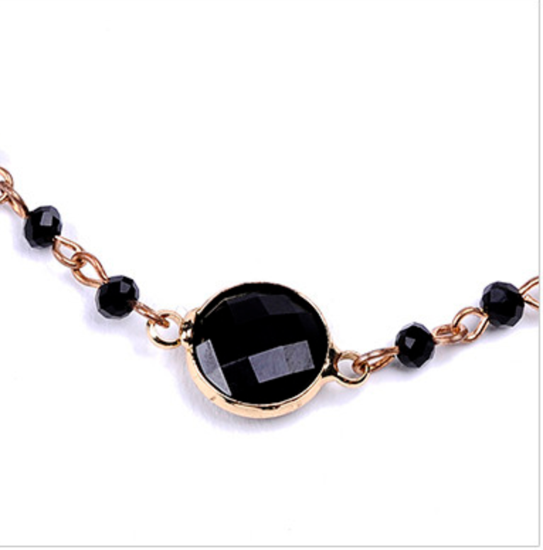 Black & Gold Crystal Beaded Choker Chain Necklace