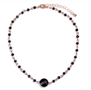 Black & Gold Crystal Beaded Choker Chain Necklace - Egret Jewellery
