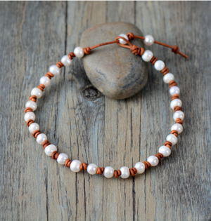 Genuine Freshwater Pearl Leather knotted Beaded Choker | Necklace - Egret Jewellery