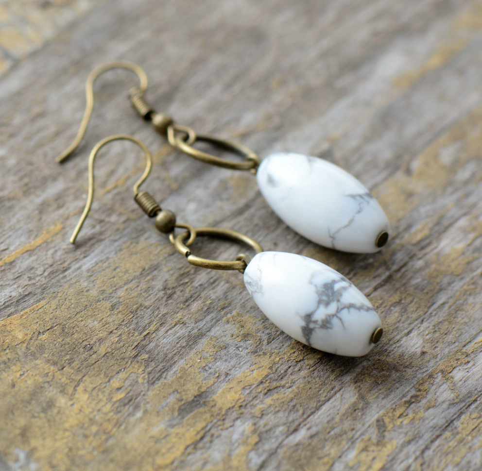 Natural White Howlite & Bronze Stone Drop Oval Boho Earrings