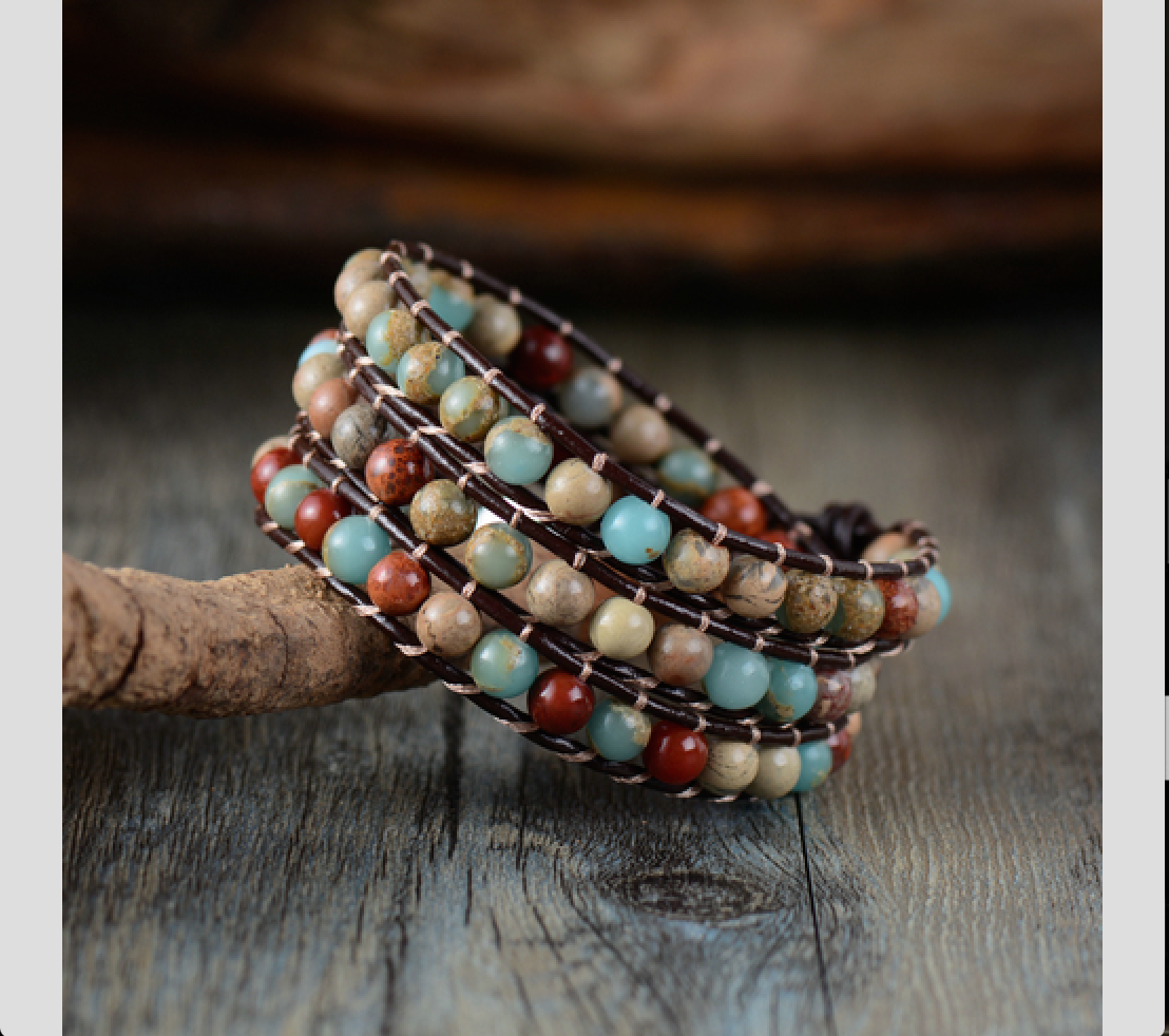 Natural Stone Beaded Jasper Triple Wrap Bracelet