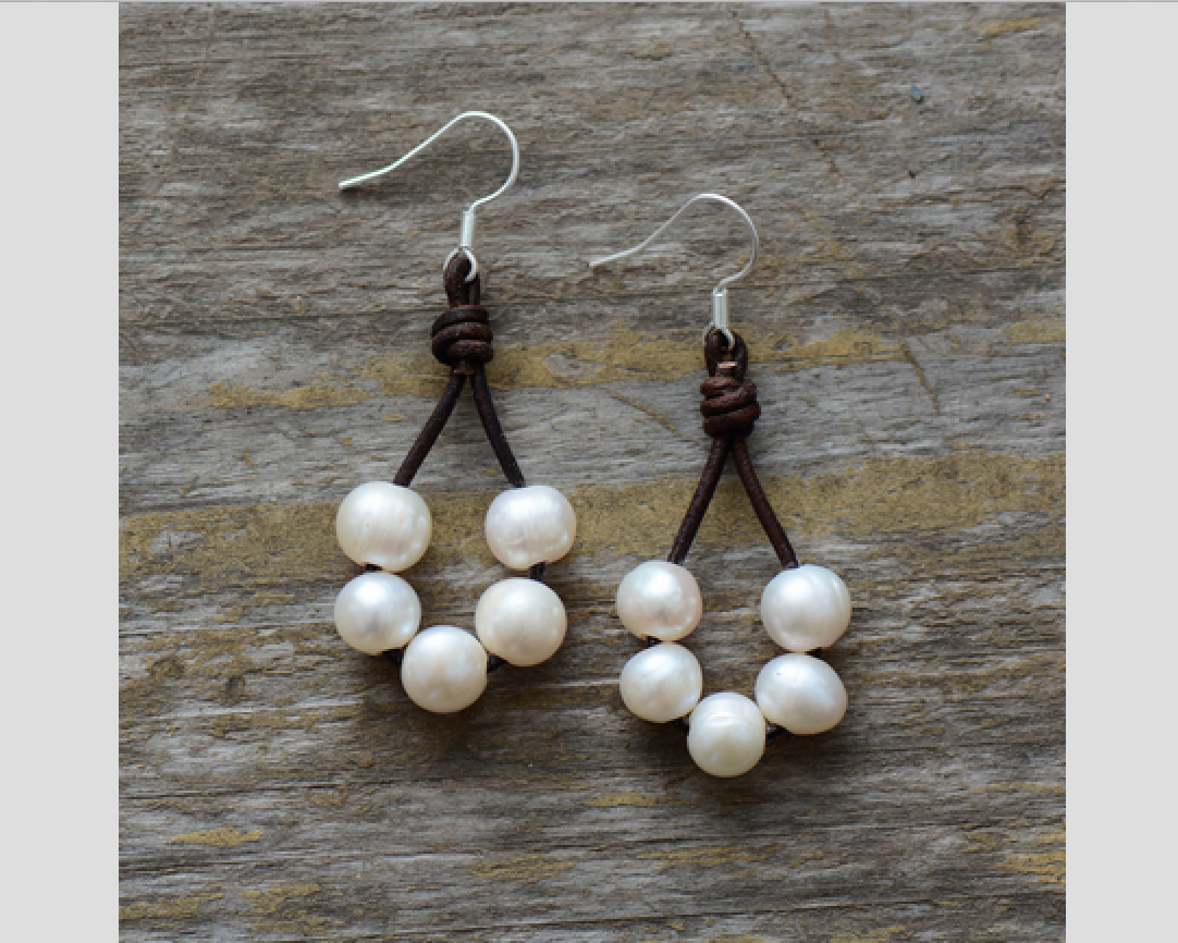 Boho Freshwater Pearl Brown Leather Rope Drop Earrings