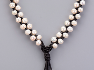 Genuine Freshwater Cream Pearl Choker Beaded Leather Necklace - Egret Jewellery