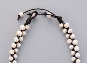 Genuine Freshwater Cream Pearl Choker Beaded Leather Necklace