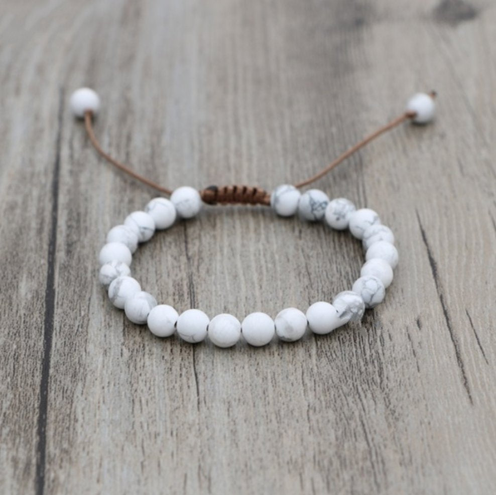 Natural Howlite Stone Beaded Stacking Friendship Bracelet