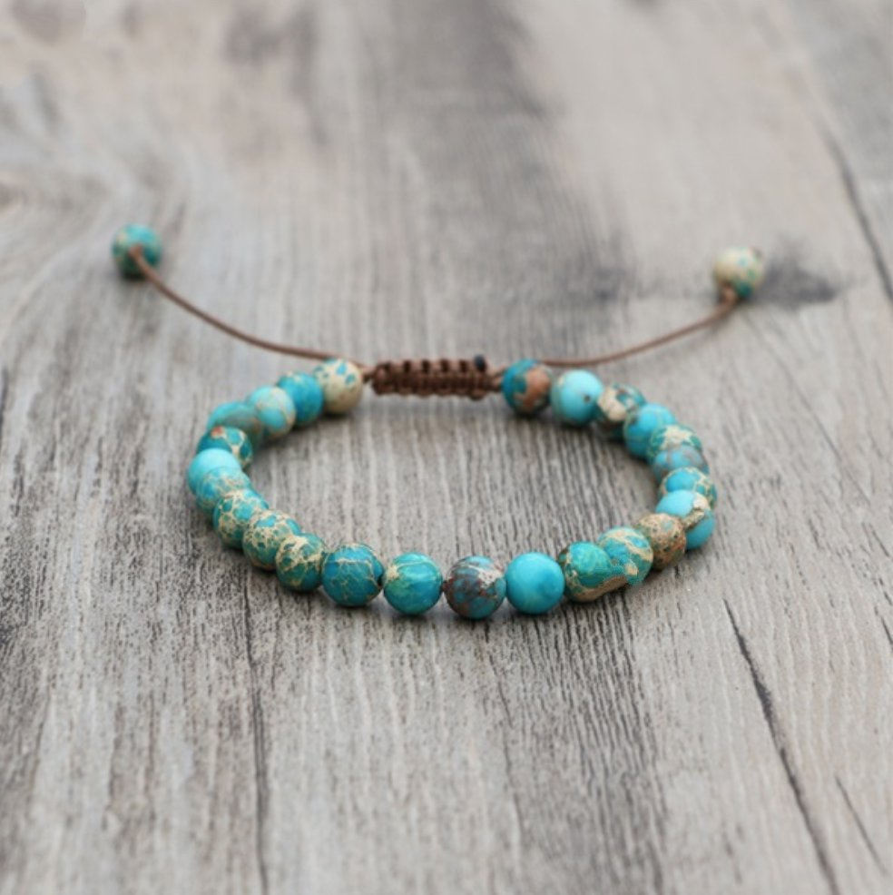 Natural Stone Turquoise Imperial Jasper Beaded Stacking Bracelet - Egret Jewellery