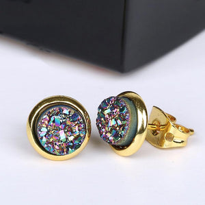 Gold Boho Round Peacock Navy Blue Druzy Stud Earrings - Egret Jewellery