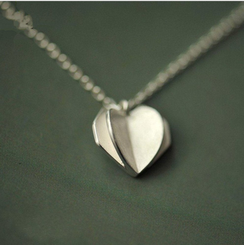Boho 925 Sterling Silver Origami Heart Charm Pendant Necklace Love - Egret Jewellery