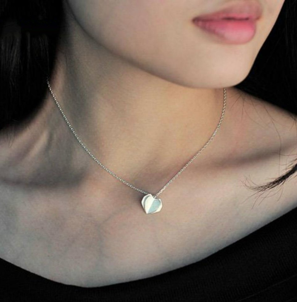 Boho 925 Sterling Silver Origami Heart Charm Pendant Necklace Love