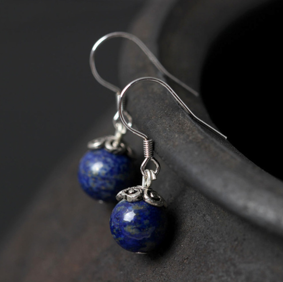 Sterling Silver Natural Blue Lapis Lazuli Round Dangle Earrings