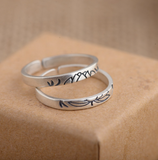 2pcs Brushed Sterling Silver Double Lotus Ring