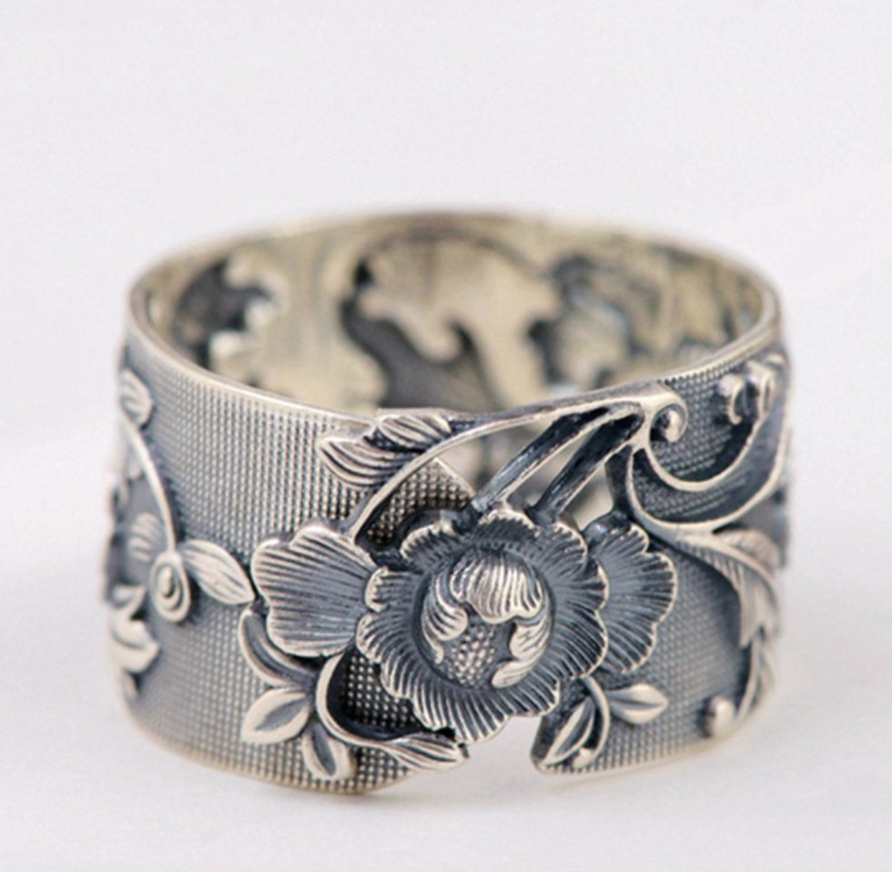 Sterling Silver Chunky Nature Boho Flower Ring - Egret Jewellery