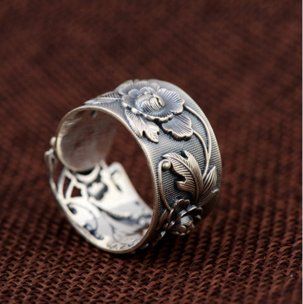 Sterling Silver Chunky Nature Boho Flower Ring