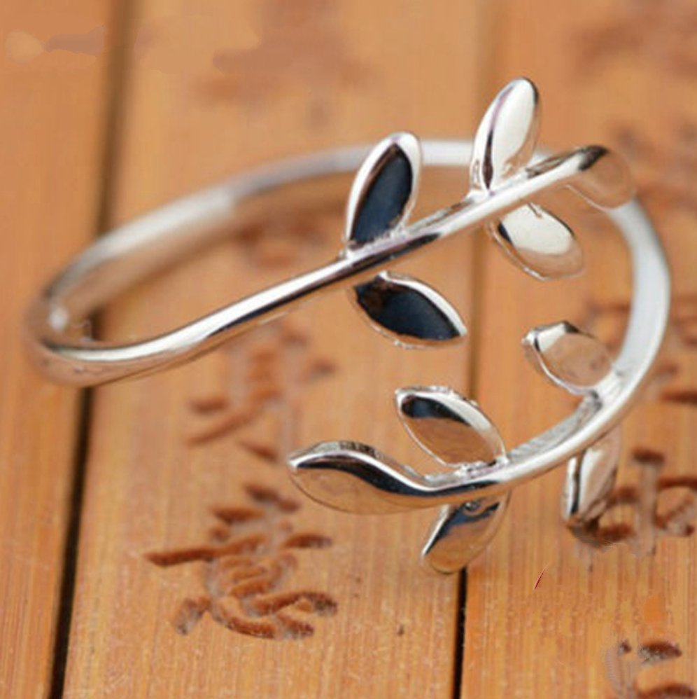 925 Sterling Silver Branch Leaf Tree Nature Wrap Ring Leaves