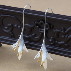 Sterling Silver Lily | Bell Flower Gold Dipped Hoop Drop Earrings - Egret Jewellery