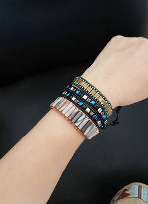 Black Tila Square Beaded Friendship Wrap Bracelet - Egret Jewellery