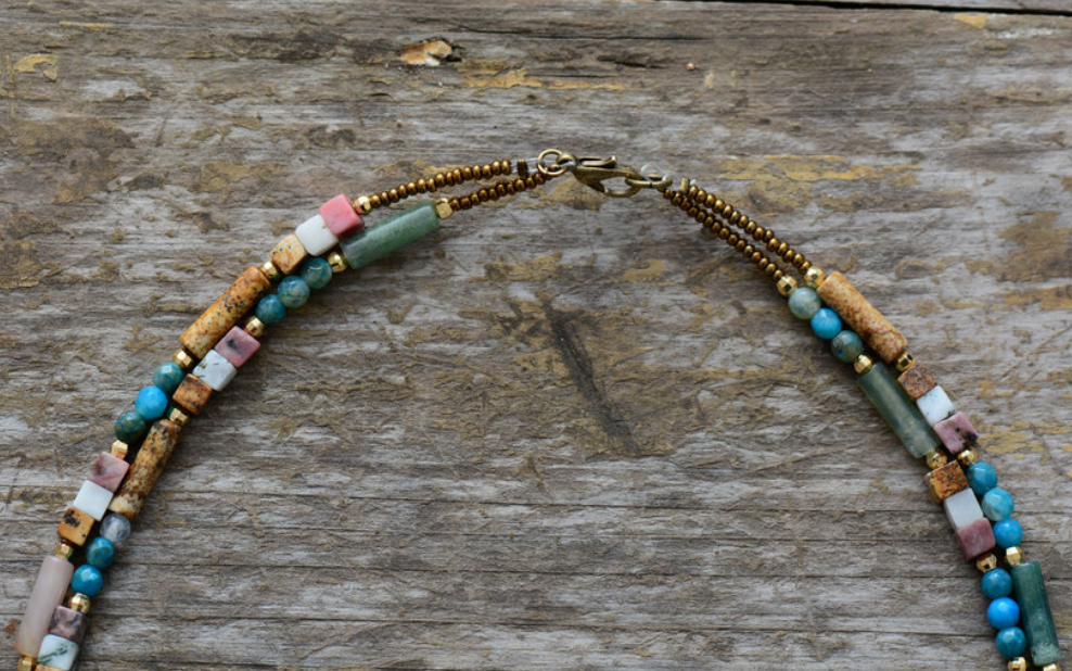 Rough Agate & Jasper Choker Natural Gold Layered Necklace