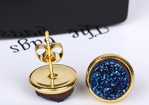 Gold Round Sapphire Navy Blue Druzy Stud Earrings - Egret Jewellery