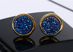 Gold Round Sapphire Navy Blue Druzy Stud Earrings
