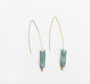 18ct Gold Plated Arrow Geometric Fish Dangle Earrings
