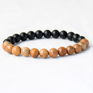 Men's Natural  Black Onyx Stone & Wooden Beaded Cuff Bracelet