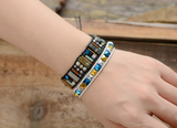 Natural Oblong Beaded Hematite Leather Cuff Bracelet