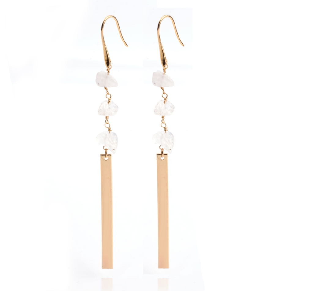 Raw Crystal Quartz Bar Dangle Gold Earrings Boho Drop Healing