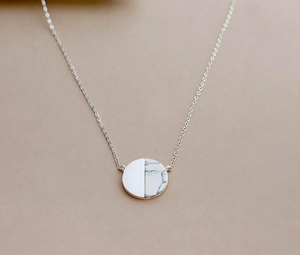 Geometric Howlite Natural Stone Round Silver Necklace