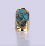 Natural Turquoise Druzy, Oval Gold-Plated Gemstone Glitter Ring