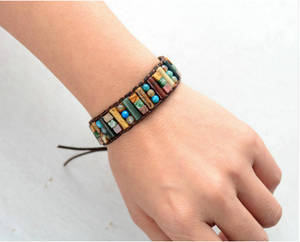 Oblong Beaded Agate & Jade Wrap Leather Cuff Bracelet, Turquoise Jasper - Egret Jewellery