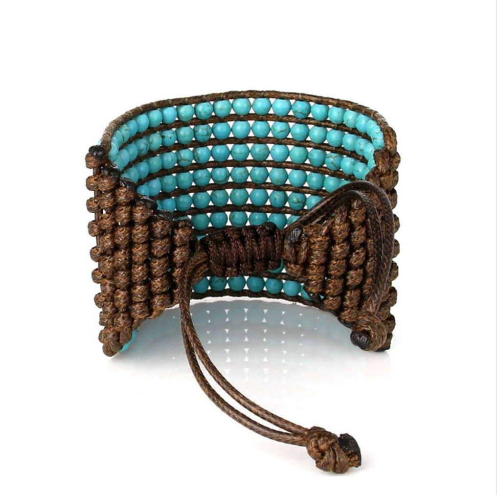 Natural Turquoise Stone Beaded Cuff | Wrap Bracelet - Egret Jewellery