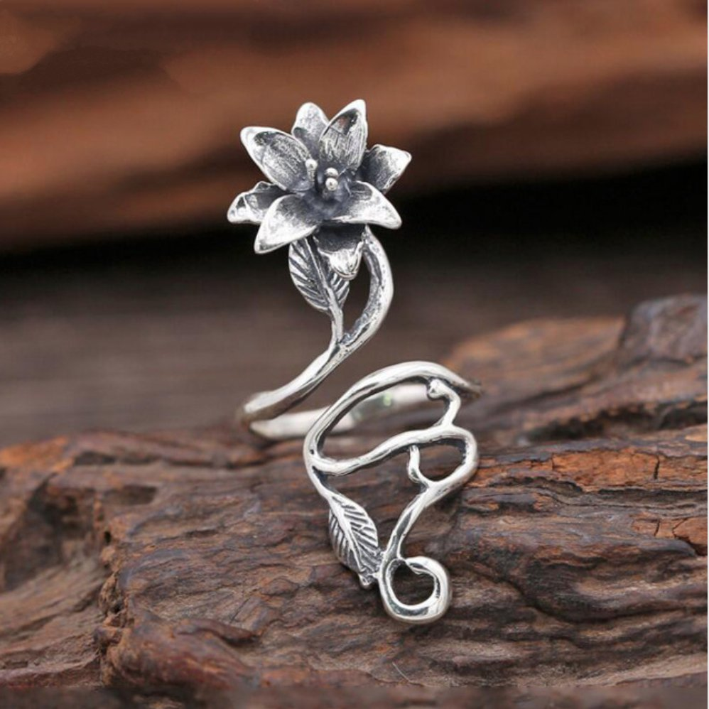 Sterling Silver Lily Flower | Leaf Wrap Ring