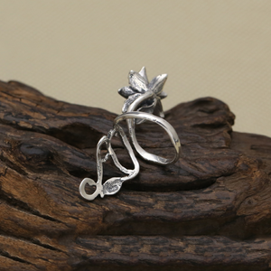 Sterling Silver Lily Flower | Leaf Wrap Ring - Egret Jewellery