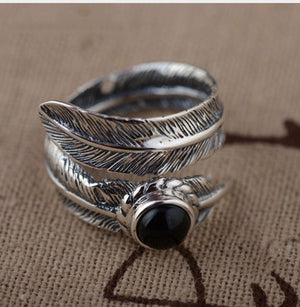 925 Sterling Silver Adjustable Feather Ring Leaf Onyx Stone
