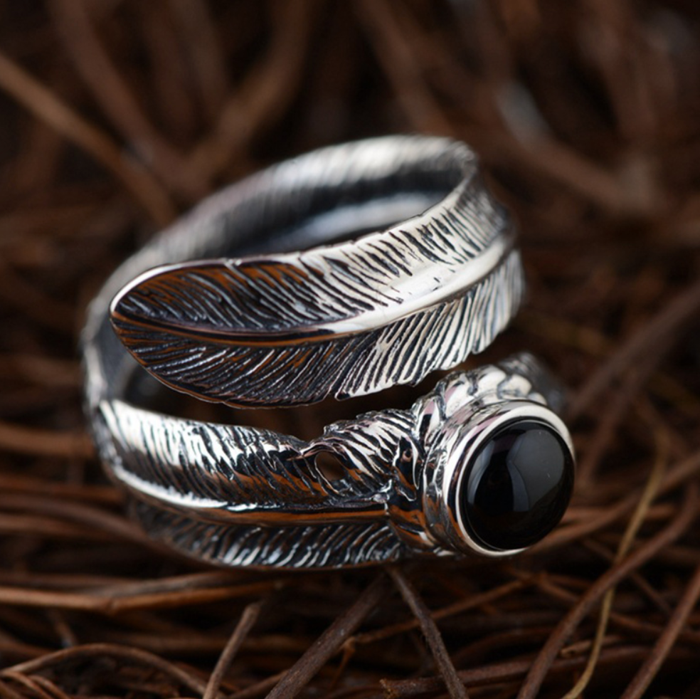 925 Sterling Silver Adjustable Feather Ring Leaf Onyx Stone - Egret Jewellery