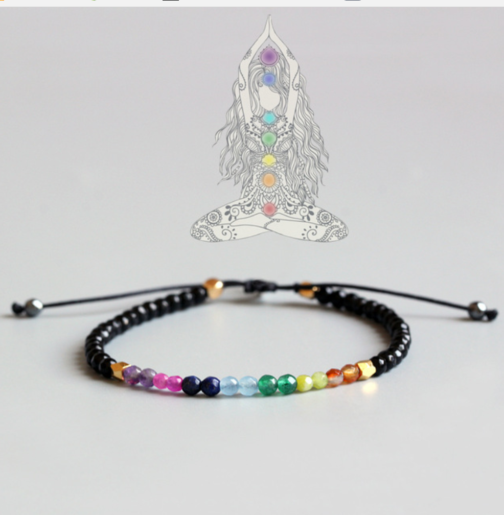 Natural 7 Stone Chakra Gemstone Beaded Crystal Bracelet