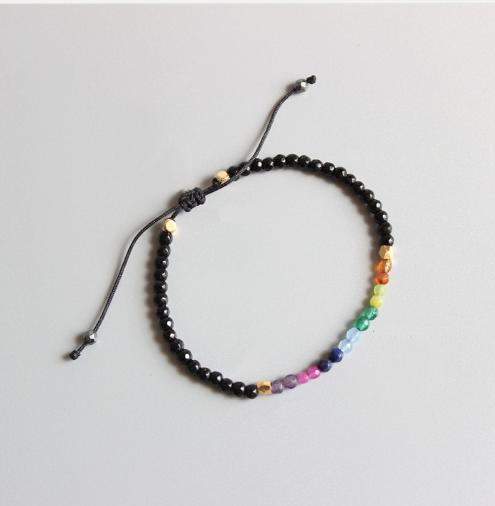 Natural 7 Stone Chakra Gemstone Beaded Crystal Bracelet - Egret Jewellery