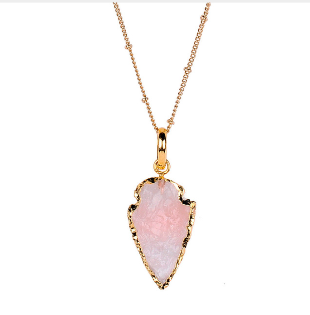 Gold Boho Natural Rough Druzy Arrowhead Rose Quartz Necklace - Egret Jewellery