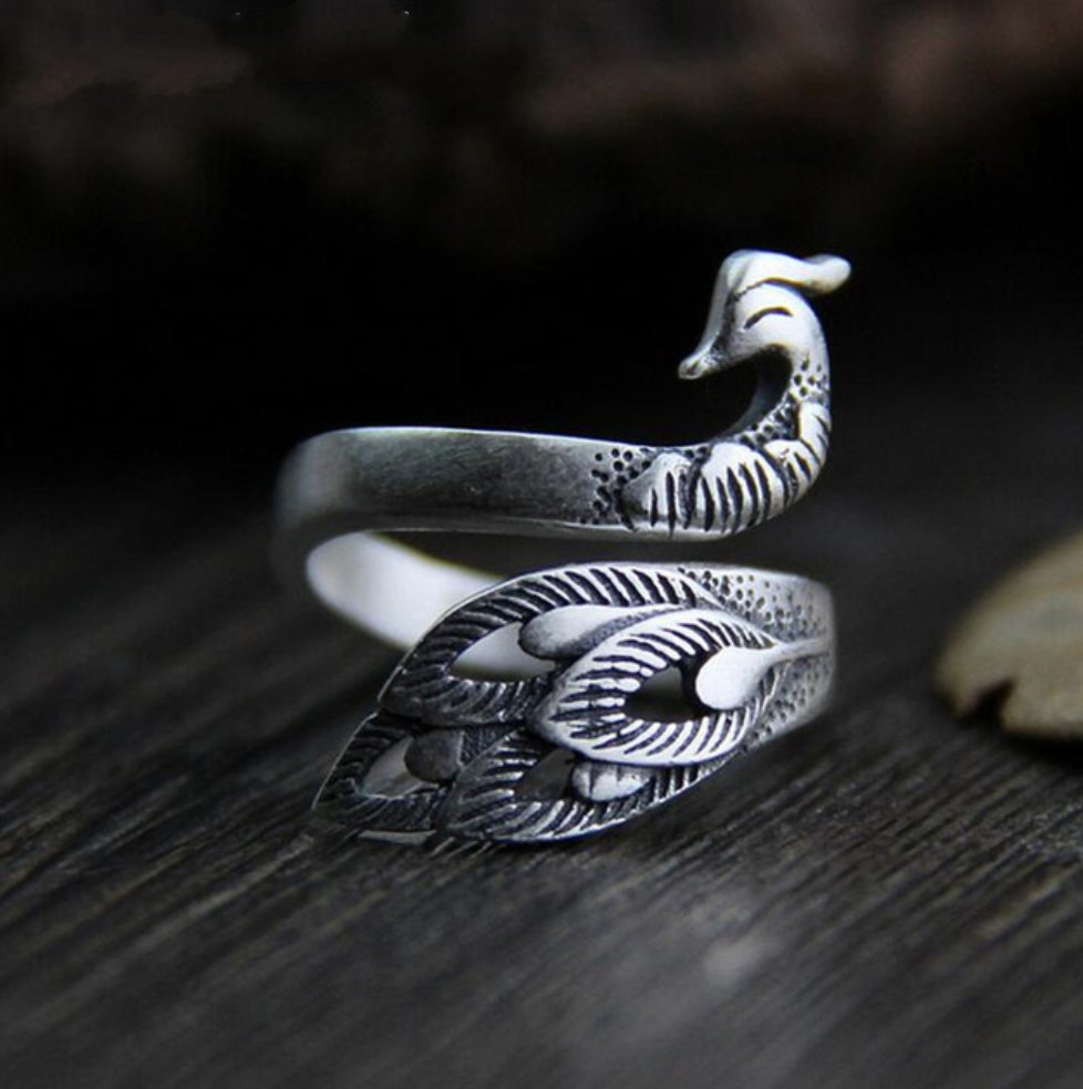 925 Sterling Silver Peacock Bird Ring Adjustable Leaf Statement - Egret Jewellery
